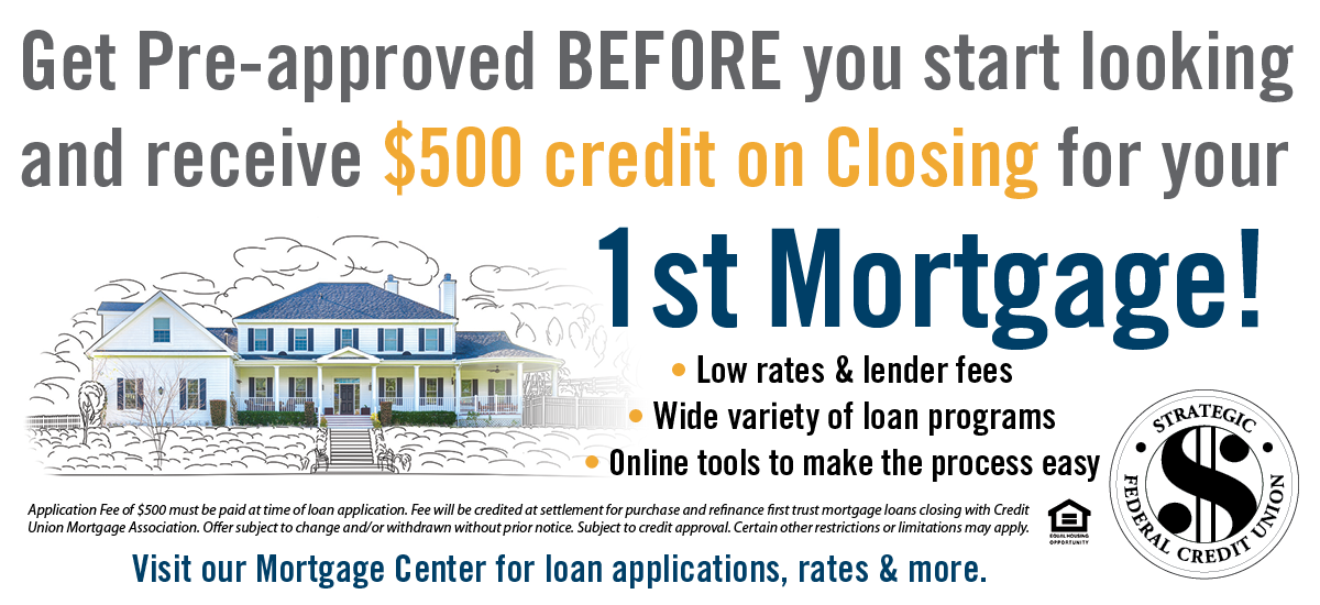 Get Pre-Approved and receive $500 credit on closing for your 1st mortgage